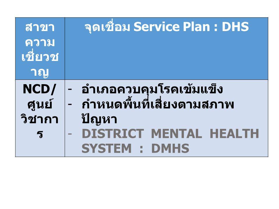 จุดเชื่อม Service Plan : DHS