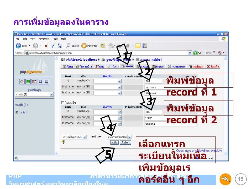 5 1 2 พิมพ์ข้อมูล record ที่ 1 3 พิมพ์ข้อมูล record ที่ 2 4