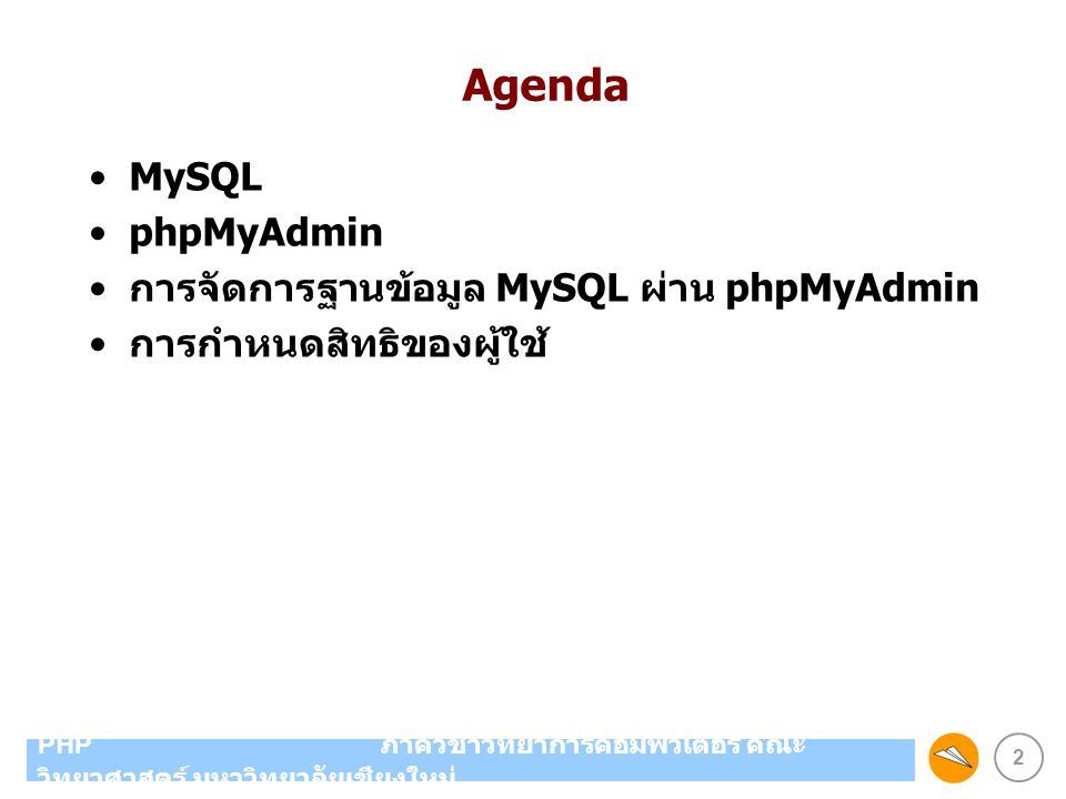 Agenda MySQL phpMyAdmin การจัดการฐานข้อมูล MySQL ผ่าน phpMyAdmin