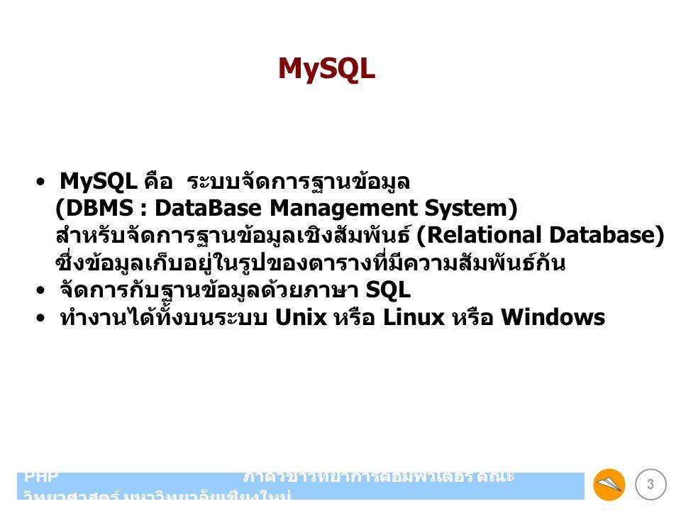 MySQL MySQL คือ ระบบจัดการฐานข้อมูล