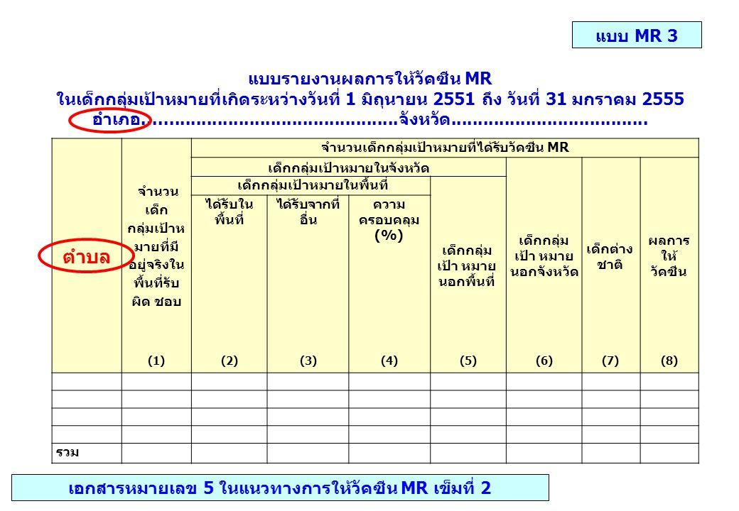 ตำบล แบบ MR 3 แบบรายงานผลการให้วัคซีน MR