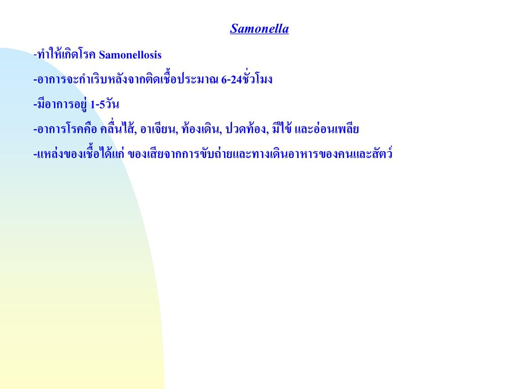 Samonella -ทำให้เกิดโรค Samonellosis