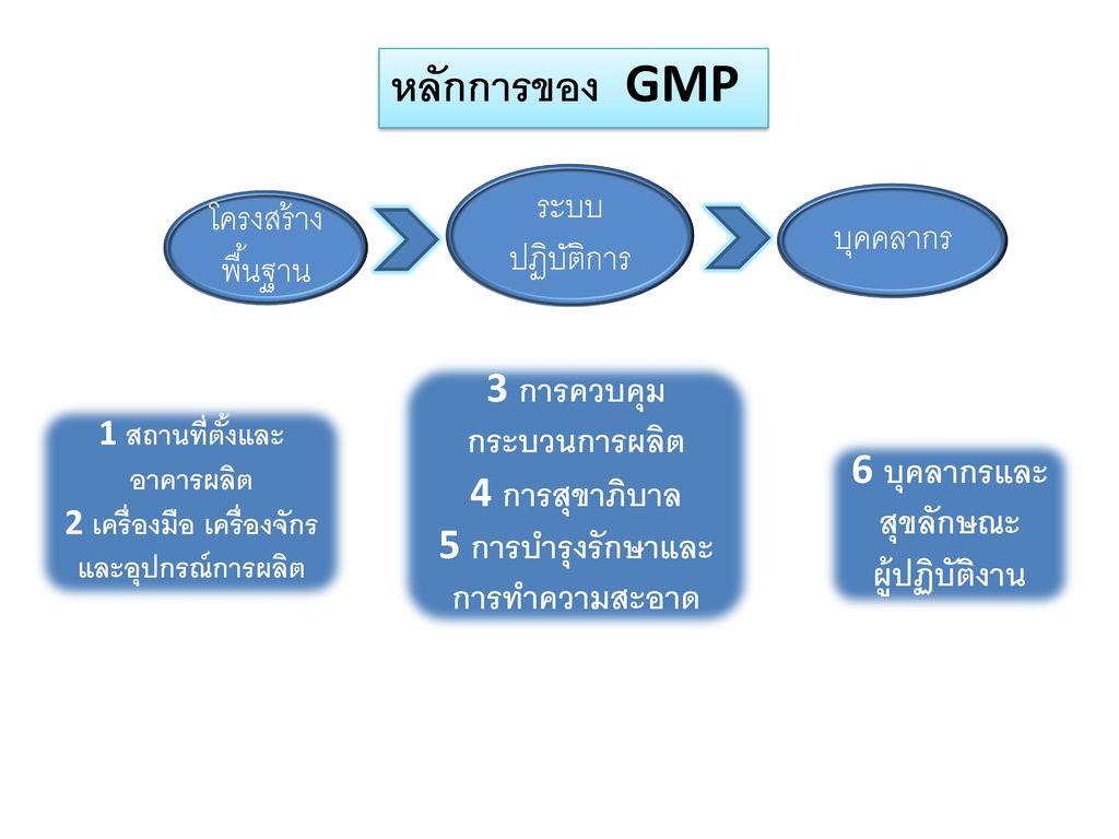 หลักการของ GMP ระบบ ปฏิบัติการ โครงสร้างพื้นฐาน บุคคลากร