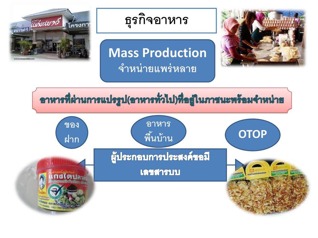 ธุรกิจอาหาร Mass Production จำหน่ายแพร่หลาย