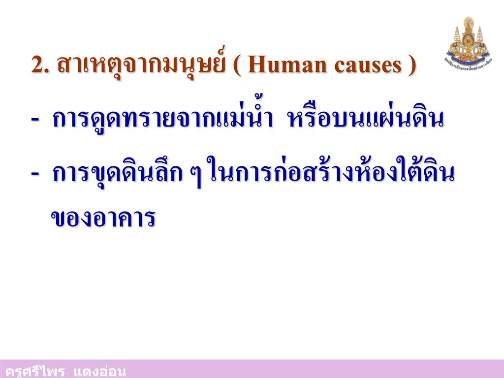 2. สาเหตุจากมนุษย์ ( Human causes )