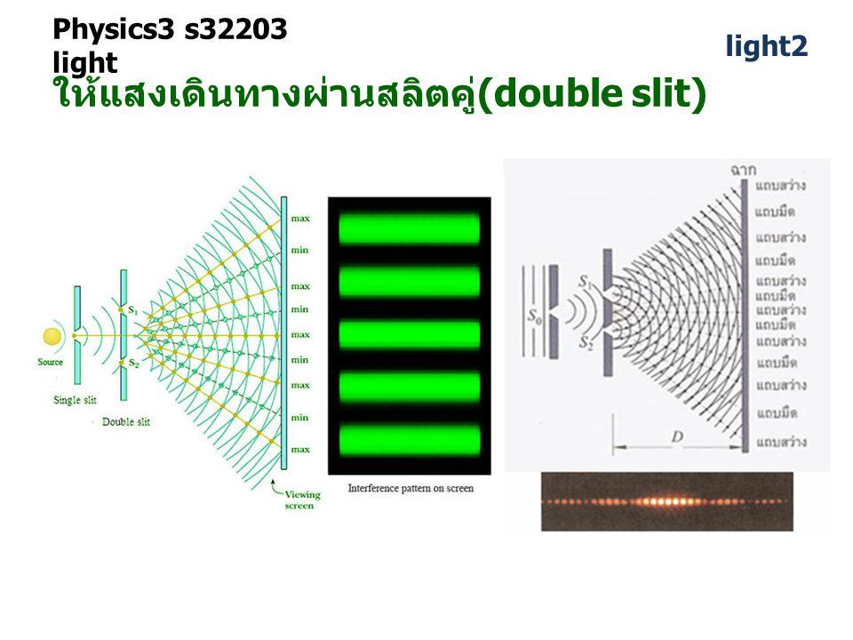 ให้แสงเดินทางผ่านสลิตคู่(double slit)