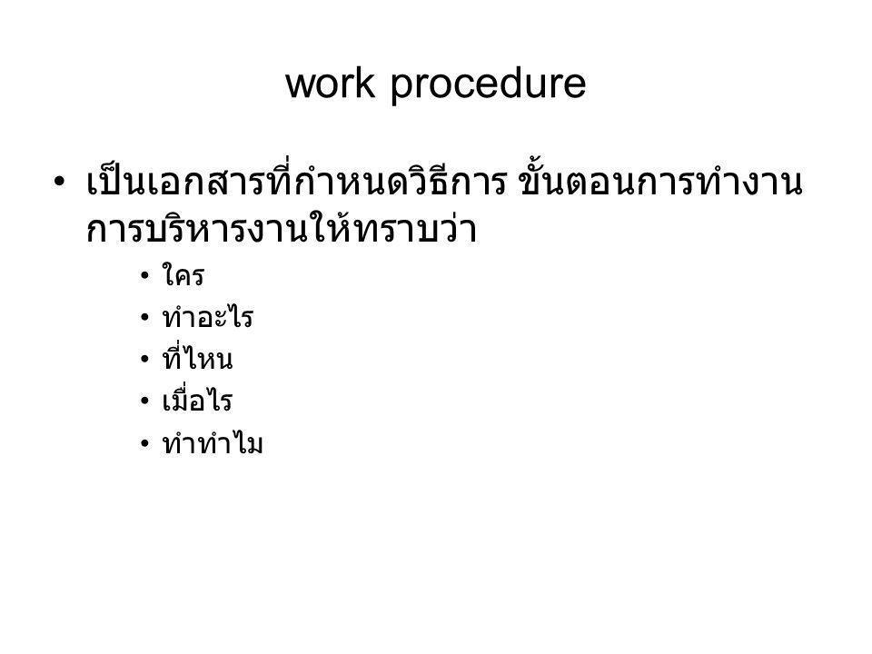 work procedure เป็นเอกสารที่กำหนดวิธีการ ขั้นตอนการทำงาน การบริหารงานให้ทราบว่า. ใคร. ทำอะไร. ที่ไหน.