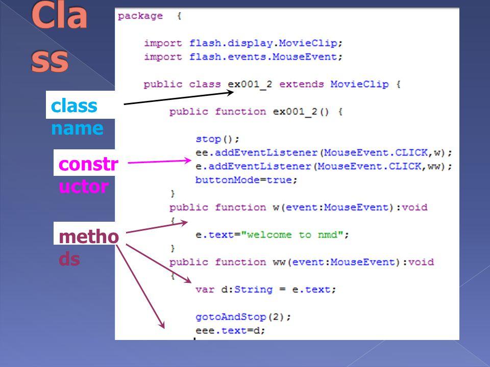 Class class name constructor methods