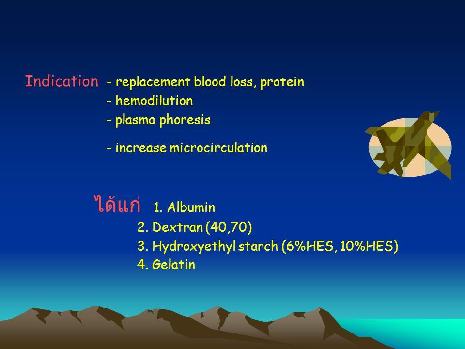 ได้แก่ 1. Albumin Indication - replacement blood loss, protein