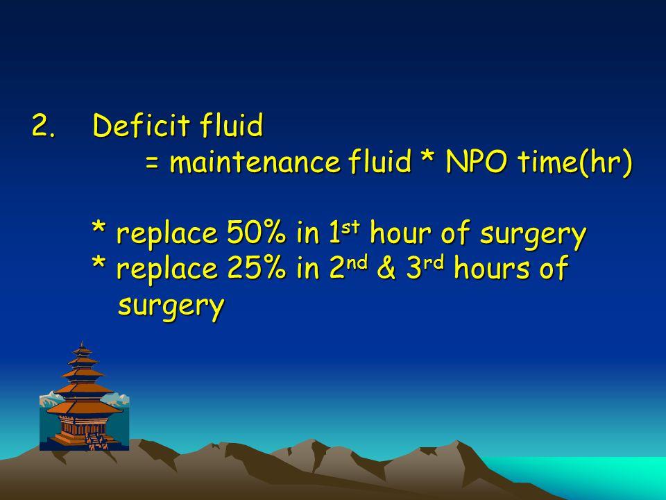 Deficit fluid = maintenance fluid. NPO time(hr)