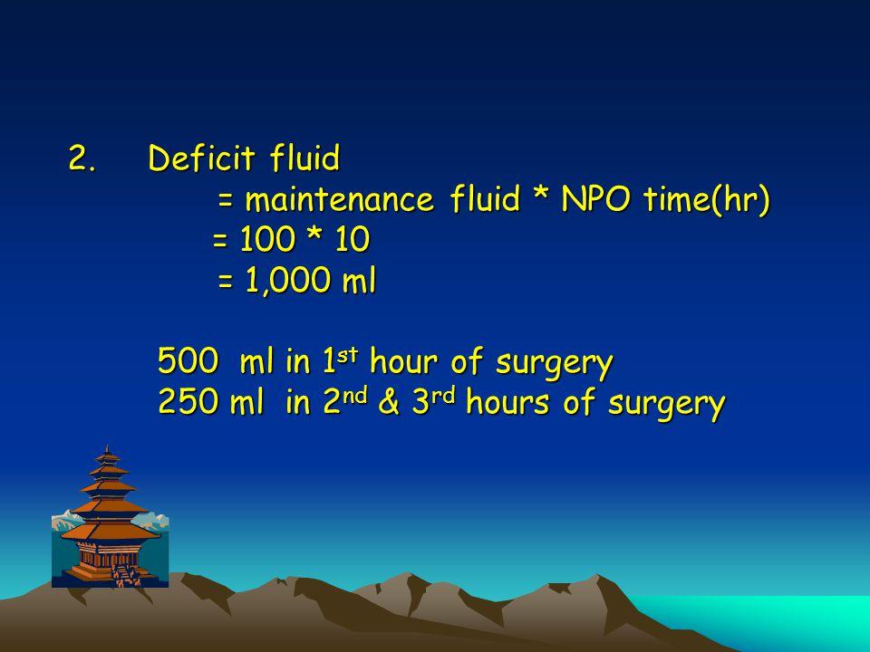 Deficit fluid = maintenance fluid. NPO time(hr) = 100