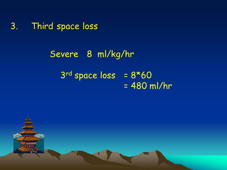 Third space loss Severe 8 ml/kg/hr 3rd space loss = 8*60 = 480 ml/hr