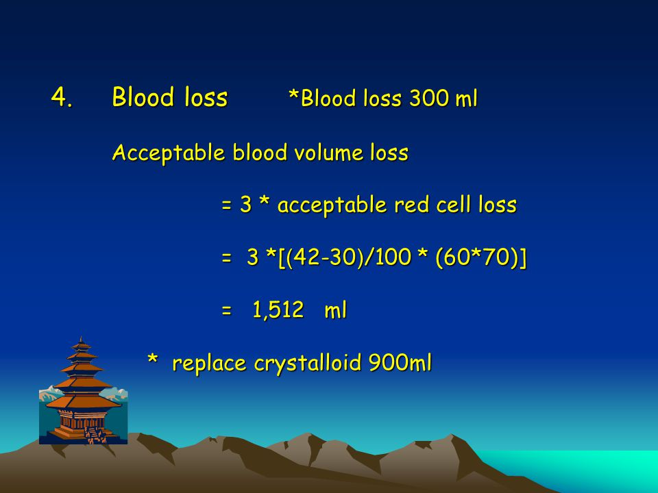 Blood loss. Blood loss 300 ml Acceptable blood volume loss = 3