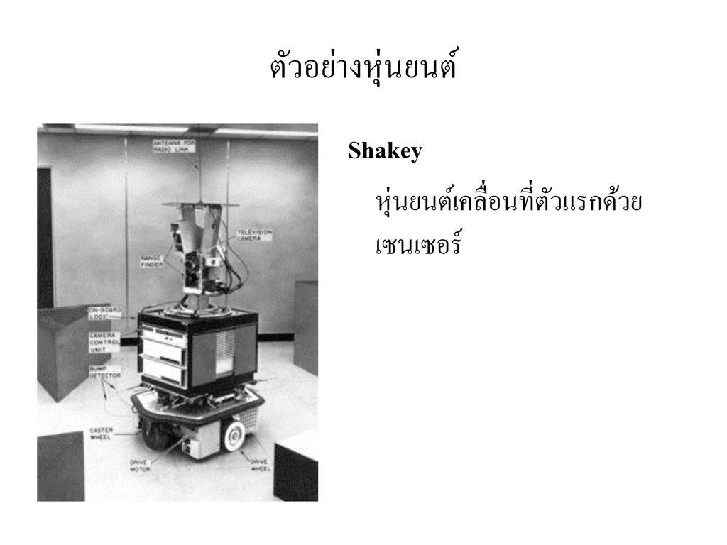 ตัวอย่างหุ่นยนต์ Shakey หุ่นยนต์เคลื่อนที่ตัวแรกด้วยเซนเซอร์