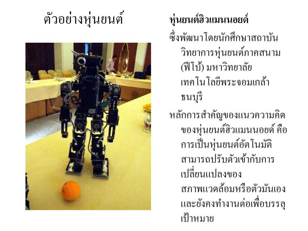 ตัวอย่างหุ่นยนต์ หุ่นยนต์ฮิวแมนนอยด์