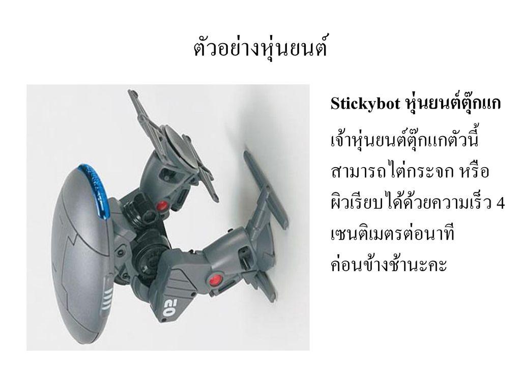 ตัวอย่างหุ่นยนต์ Stickybot หุ่นยนต์ตุ๊กแก.