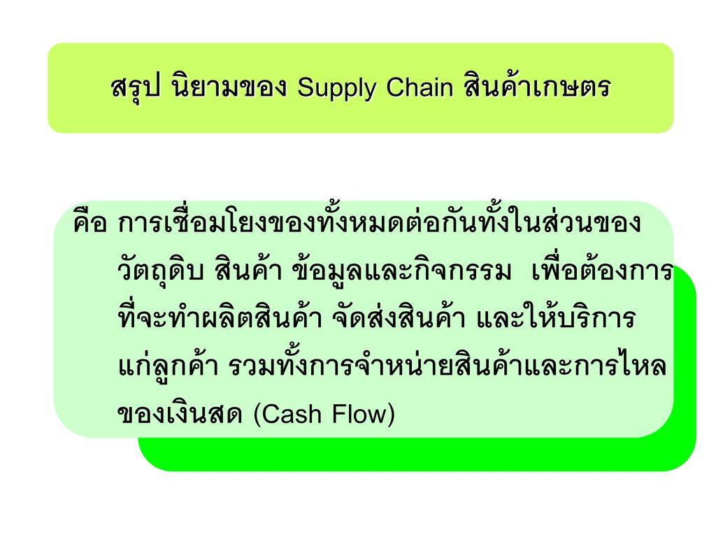 สรุป นิยามของ Supply Chain สินค้าเกษตร