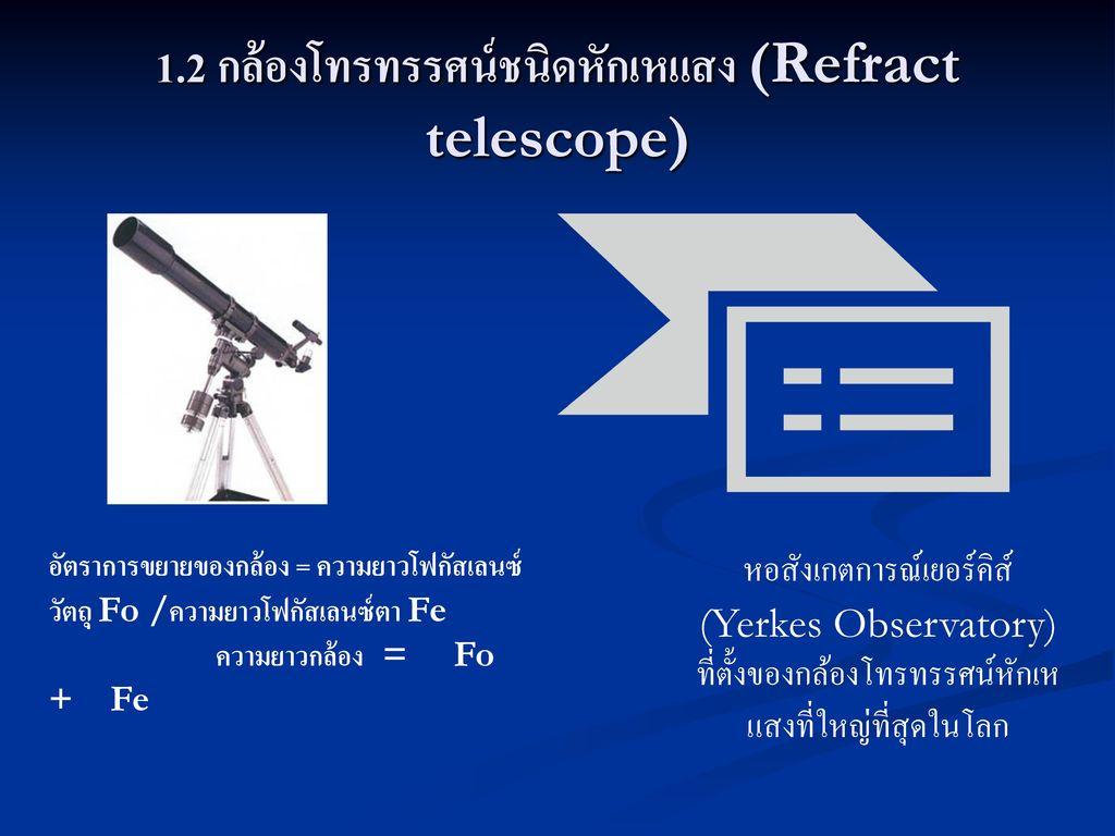 1.2 กล้องโทรทรรศน์ชนิดหักเหแสง (Refract telescope)