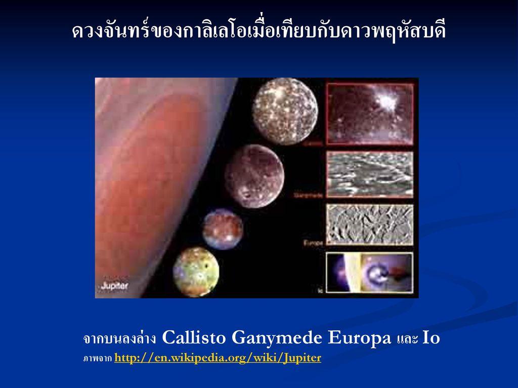 ดวงจันทร์ของกาลิเลโอเมื่อเทียบกับดาวพฤหัสบดี