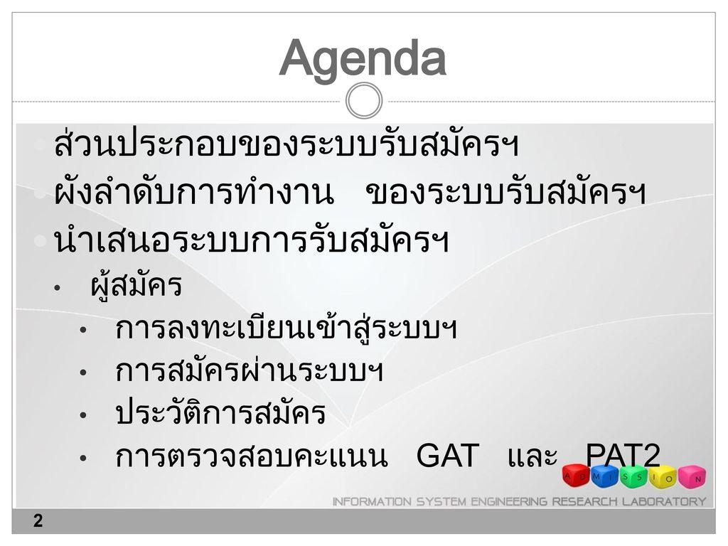 Agenda ส่วนประกอบของระบบรับสมัครฯ ผังลำดับการทำงาน ของระบบรับสมัครฯ