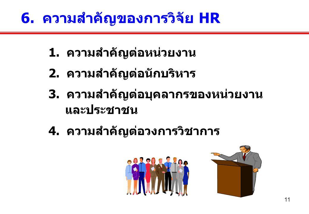 6. ความสำคัญของการวิจัย HR