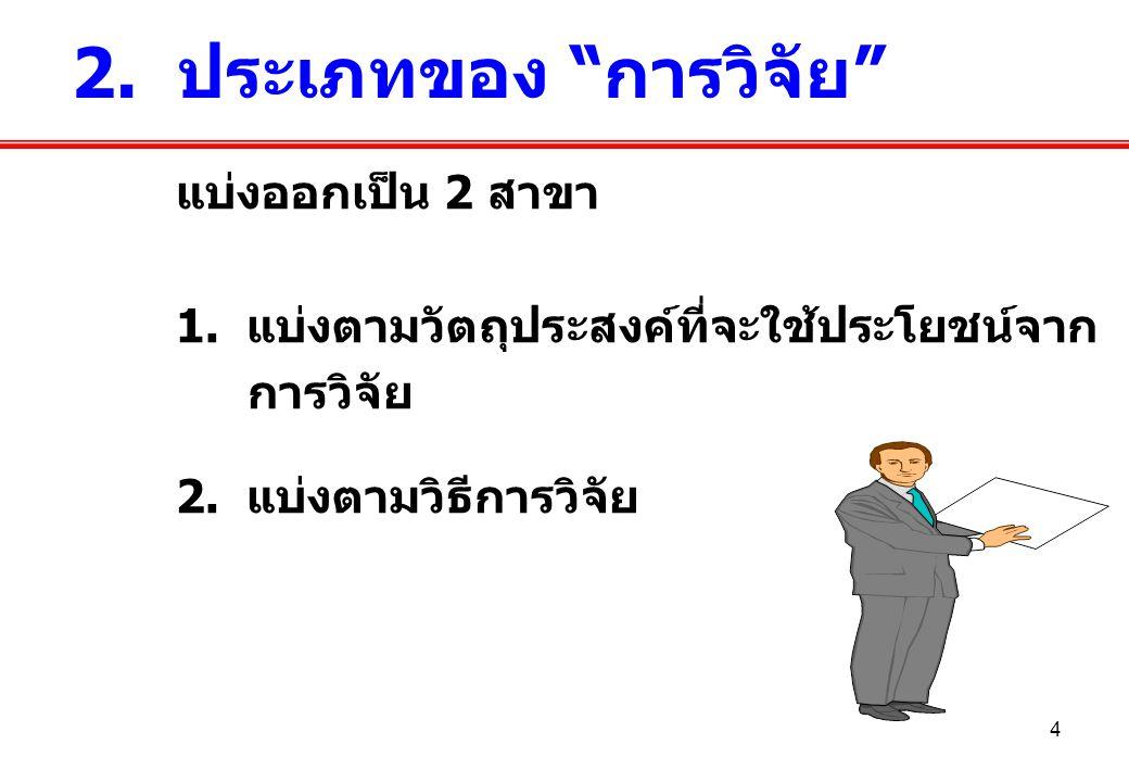 2. ประเภทของ การวิจัย แบ่งออกเป็น 2 สาขา