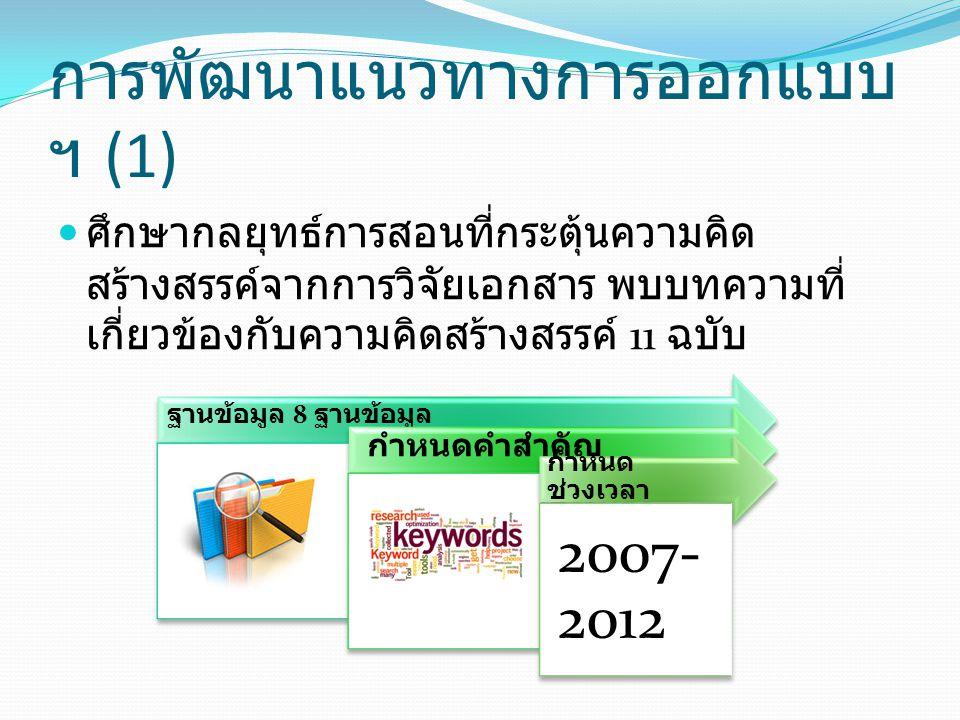 การพัฒนาแนวทางการออกแบบฯ (1)
