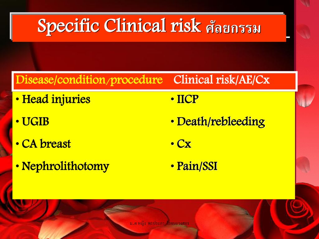 Specific Clinical risk ศัลยกรรม