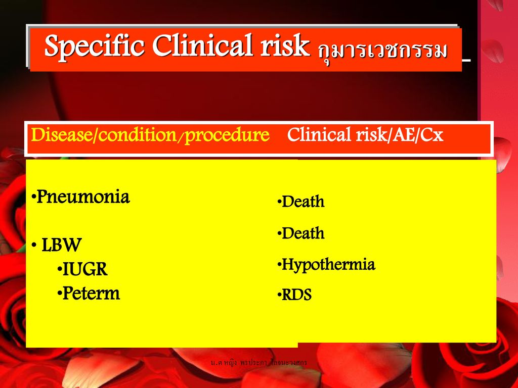 Specific Clinical risk กุมารเวชกรรม
