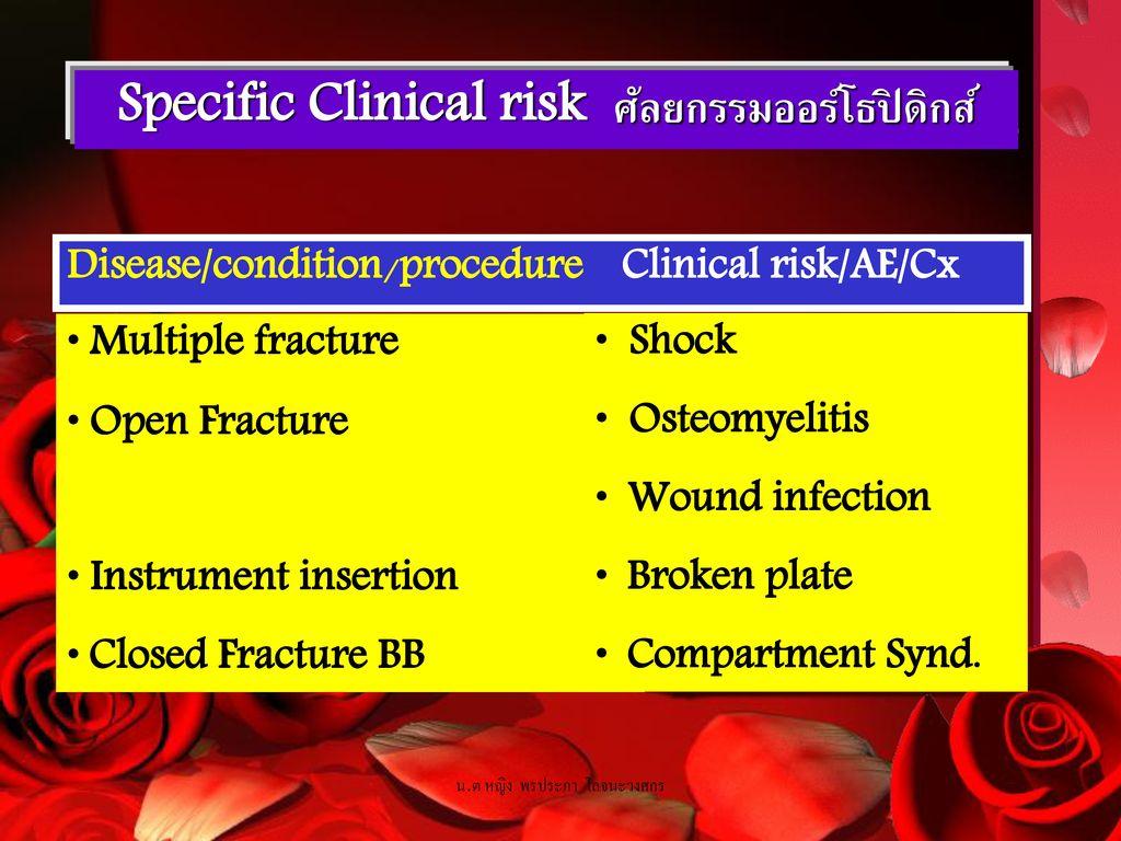 Specific Clinical risk ศัลยกรรมออร์โธปิดิกส์