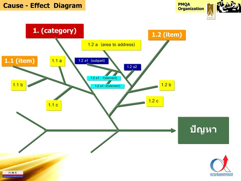 ปัญหา Cause - Effect Diagram 1. (category) 1.2 a (area to address)