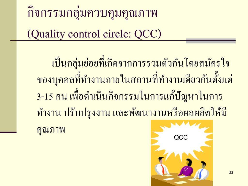 กิจกรรมกลุ่มควบคุมคุณภาพ (Quality control circle: QCC)