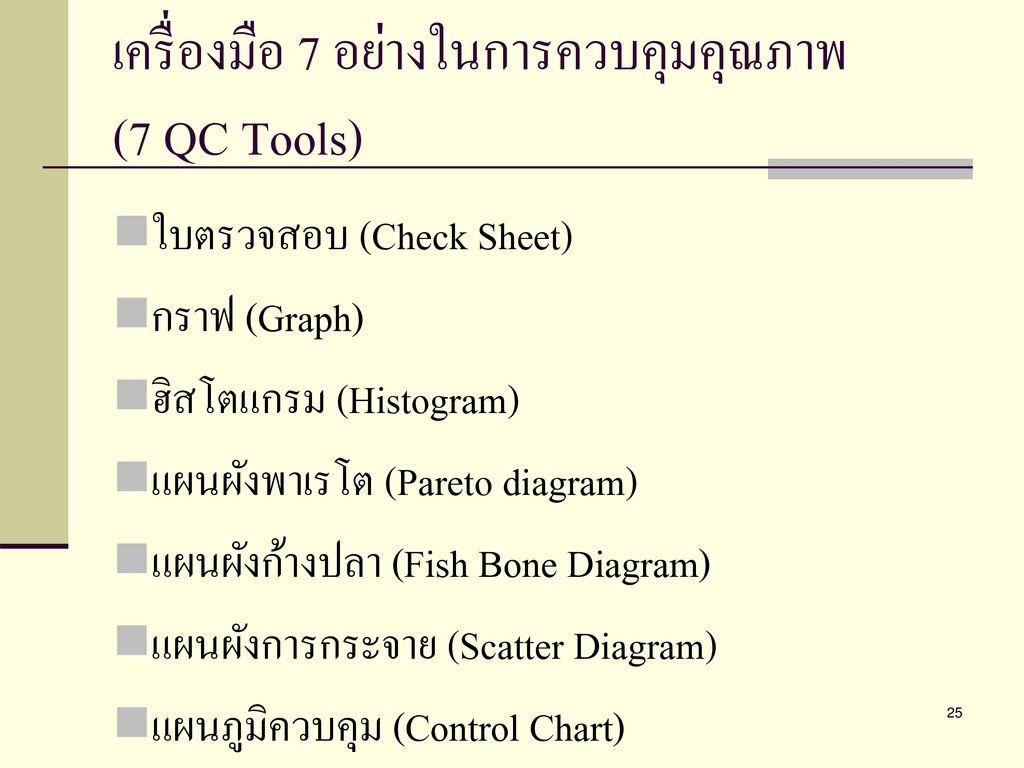 เครื่องมือ 7 อย่างในการควบคุมคุณภาพ (7 QC Tools)
