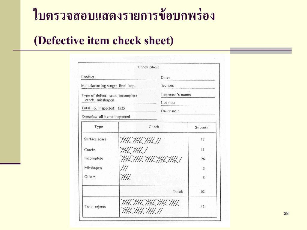ใบตรวจสอบแสดงรายการข้อบกพร่อง (Defective item check sheet)