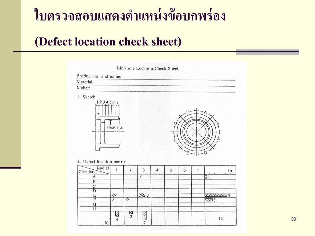 ใบตรวจสอบแสดงตำแหน่งข้อบกพร่อง (Defect location check sheet)