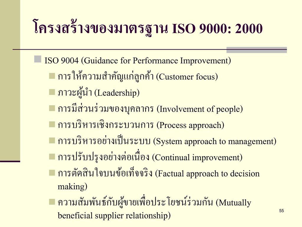 โครงสร้างของมาตรฐาน ISO 9000: 2000