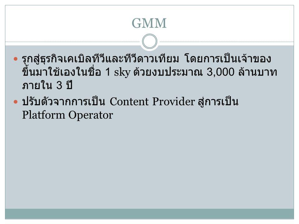 GMM รุกสู่ธุรกิจเคเบิลทีวีและทีวีดาวเทียม โดยการเป็นเจ้าของขึ้นมาใช้เองในชื่อ 1 sky ด้วยงบประมาณ 3,000 ล้านบาท ภายใน 3 ปี