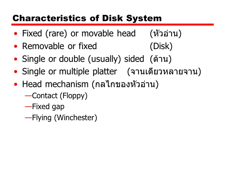 Characteristics of Disk System