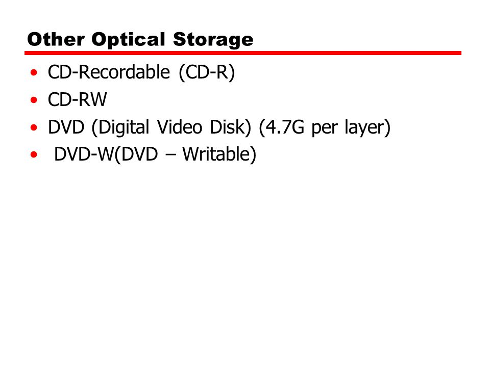 Other Optical Storage CD-Recordable (CD-R) CD-RW.