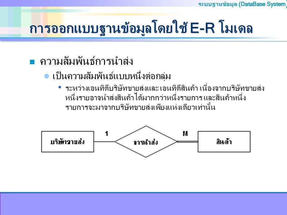 การออกแบบฐานข้อมูลโดยใช้ E-R โมเดล