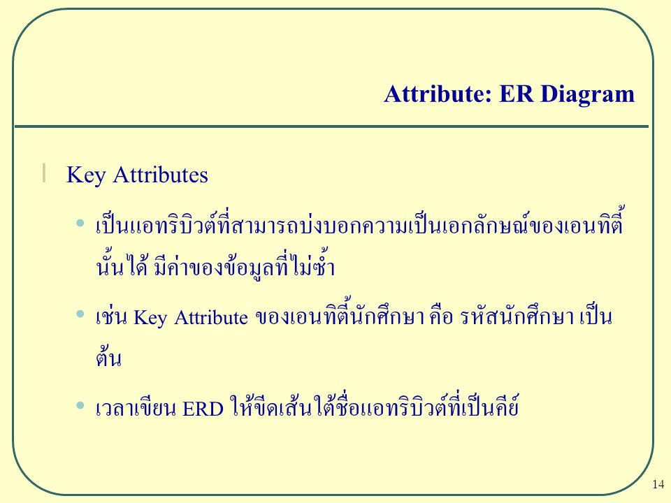 Attribute: ER Diagram Key Attributes