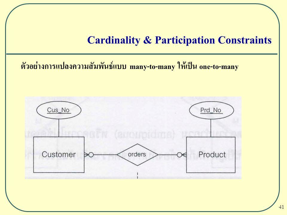 Cardinality & Participation Constraints