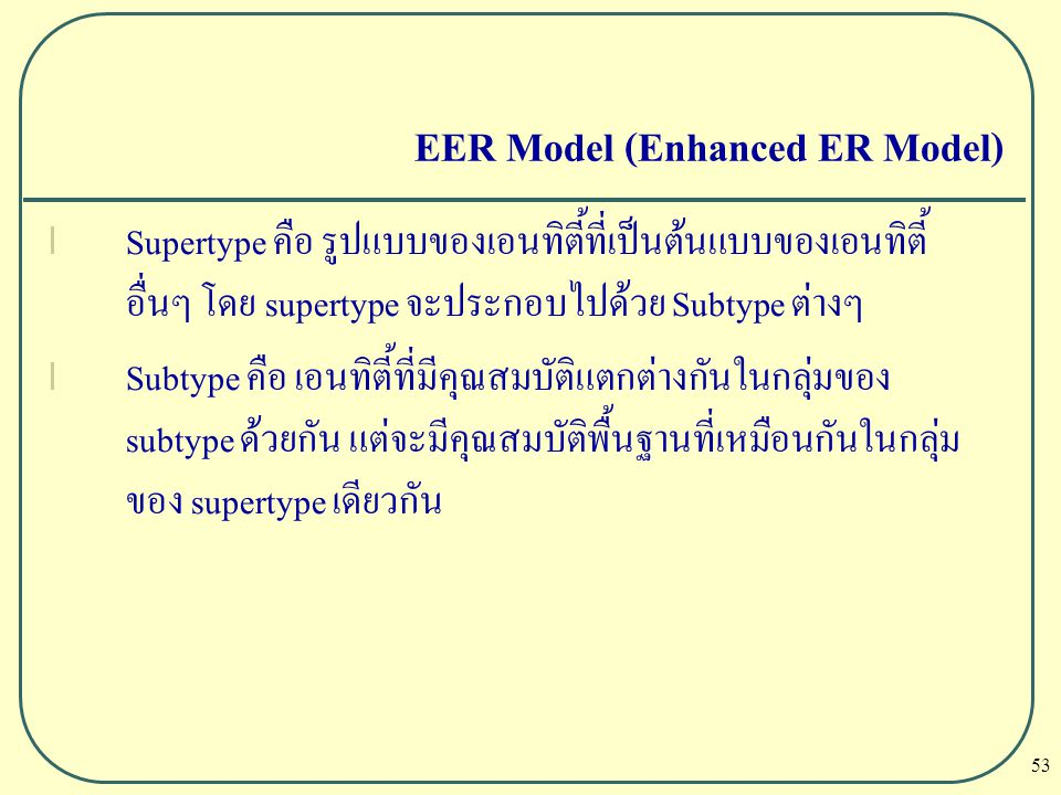 EER Model (Enhanced ER Model)