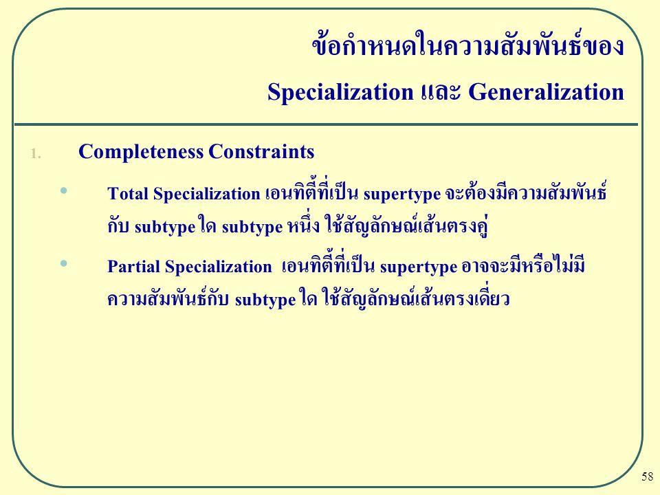 ข้อกำหนดในความสัมพันธ์ของ Specialization และ Generalization