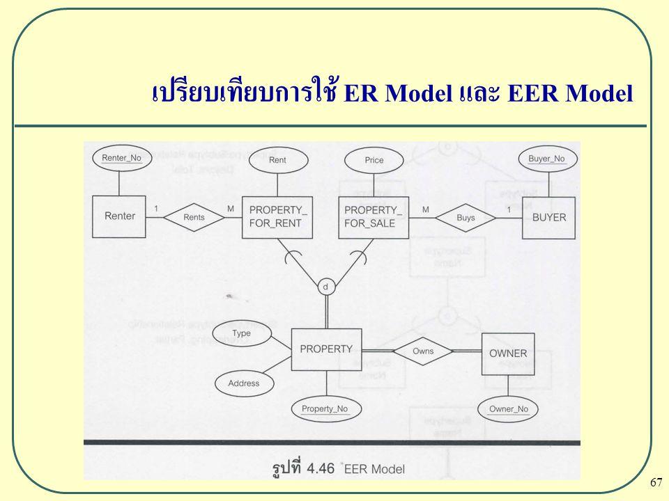 เปรียบเทียบการใช้ ER Model และ EER Model