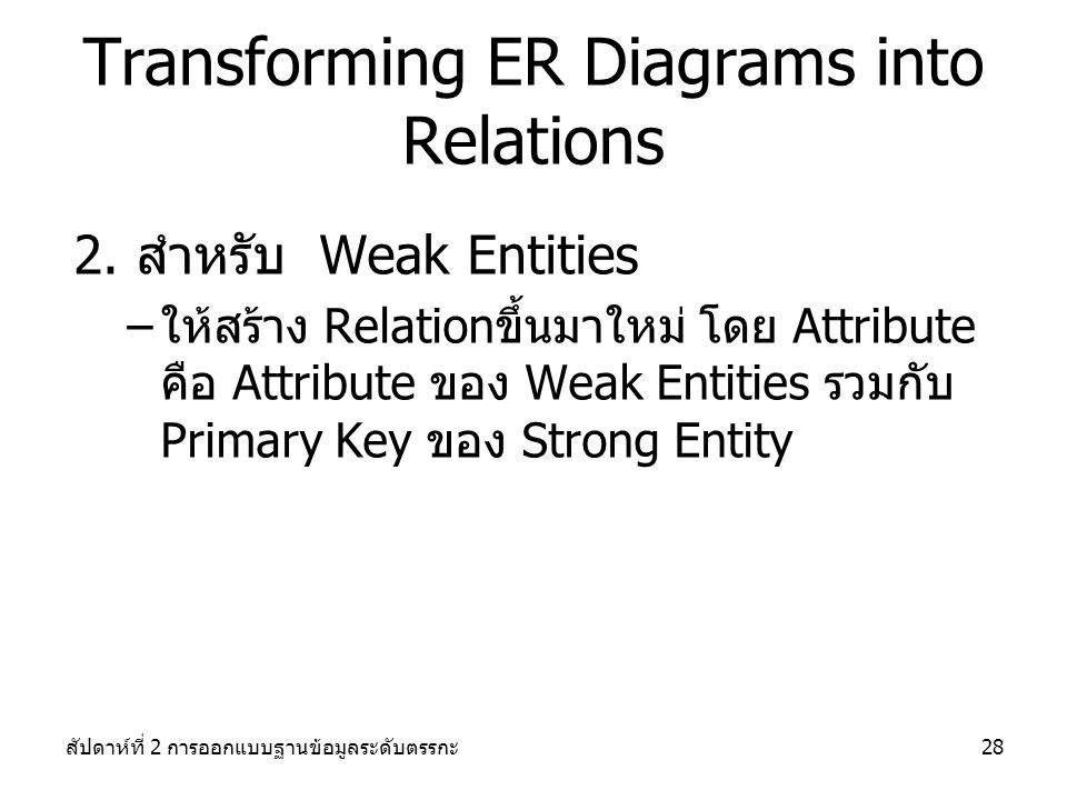 Transforming ER Diagrams into Relations