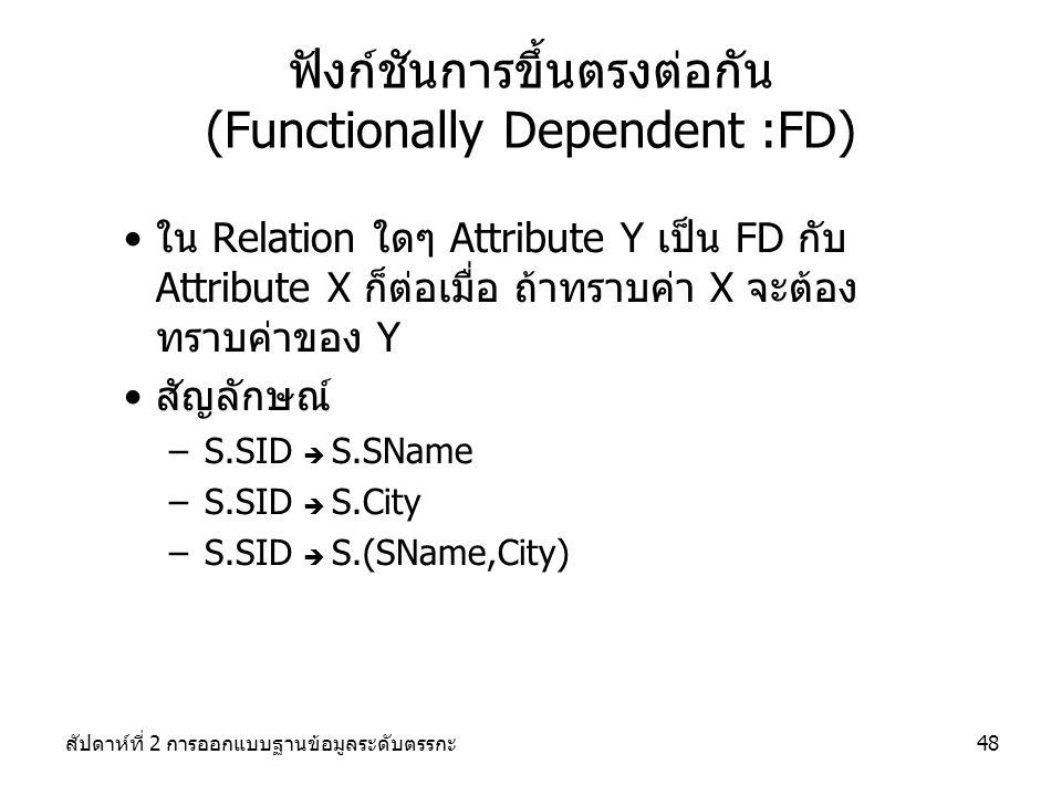 ฟังก์ชันการขึ้นตรงต่อกัน (Functionally Dependent :FD)