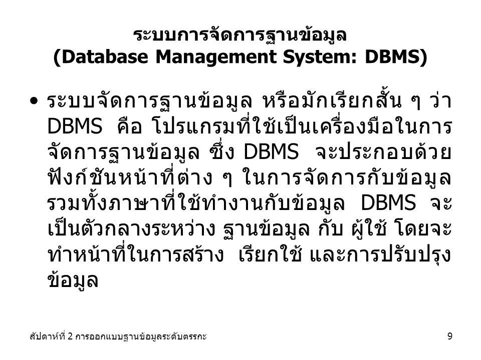 ระบบการจัดการฐานข้อมูล (Database Management System: DBMS)