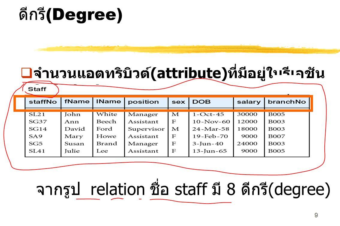 จากรูป relation ชื่อ staff มี 8 ดีกรี(degree)