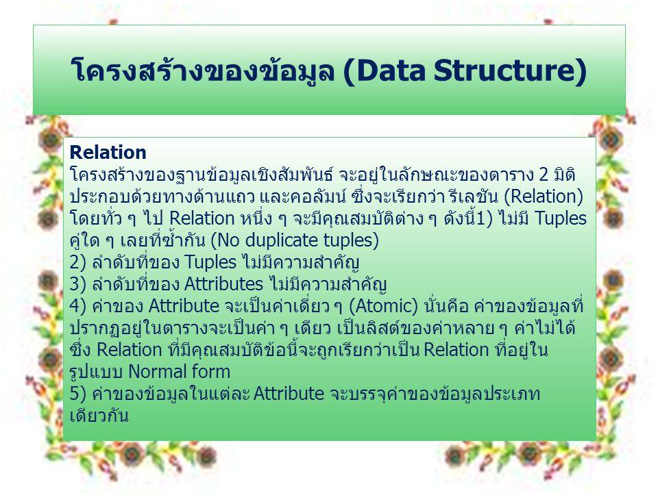 โครงสร้างของข้อมูล (Data Structure)